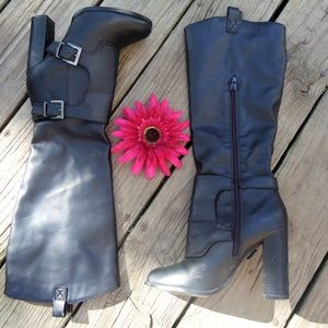 Black Calf boots with heel